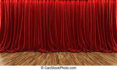 劇場, 床, 木製である, レンダリング, カーテン, ステージ, 赤, 3d