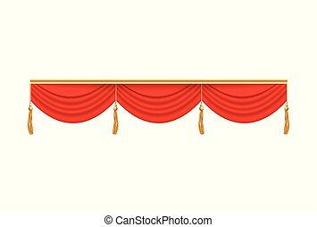 劇場, 折り畳める, 3, valance, カーテン, 赤, ステージ