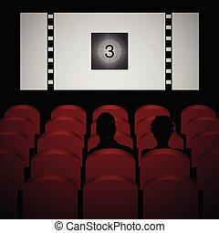 劇場, 映画館, 映画, 恋人, イラスト, ベクトル