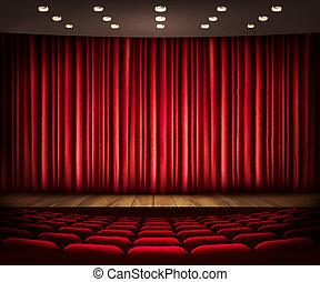 劇場, 映画館, 現場, vector., curtain., ∥あるいは∥