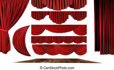 劇場, 要素, から作りなさい, あなたの, 所有するため, ステージ, 背景