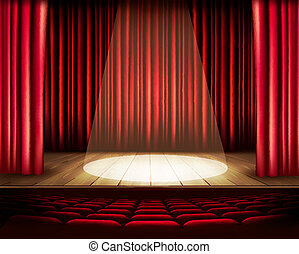 劇場, vecto, 赤, 席, spotlight., カーテン, ステージ