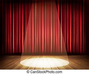 劇場, vector., spotlight., カーテン, 赤, ステージ