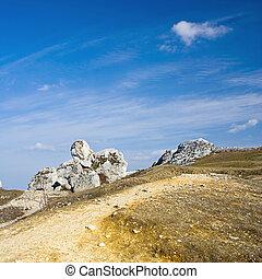 劇的な 空, 上に, 古い, 石灰岩, 岩