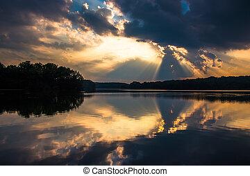 劇的, 日没の 空, 反映, 中に, 湖, pinchot, gifford, pinchot, 州立 公園,...