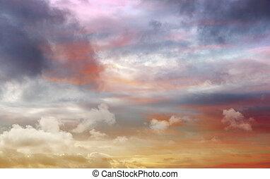 劇的, 青, カラフルである, 空, オレンジ