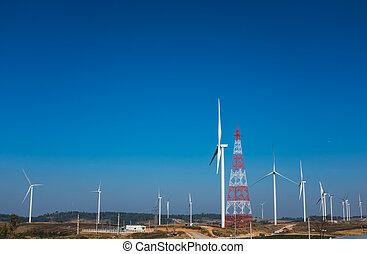 力を発生させること, eco, 電気, エネルギー, source., タービン, 風, 回復可能