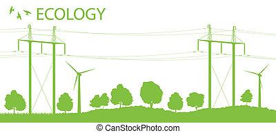 力発電機, エネルギー, 高く, ベクトル, 電圧, 背景, 風, 選択肢, 線, カード