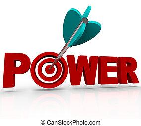 力量, 詞, 目標, 力量, 公牛眼睛, 擊中, 箭