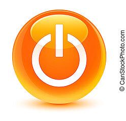 力, アイコン, ガラス状, オレンジ, ラウンド, ボタン