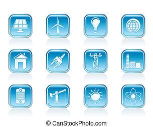 力, エネルギー, そして, 電気, アイコン
