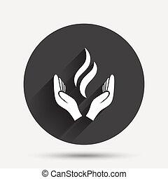 力, エネルギー, シンボル。, 印, 手, icon.
