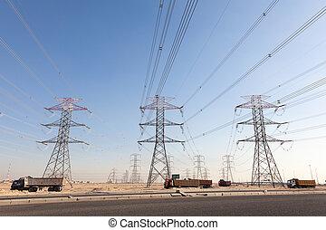 力, クウェート, ライン, 高く, 中央, 電圧, 東