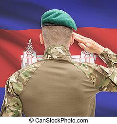 力, シリーズ, 国民, -, カンボジアの旗, 背景, 概念, 軍