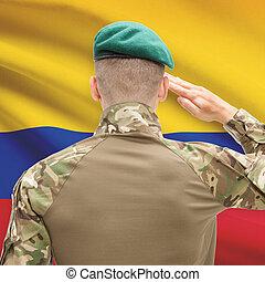 力, シリーズ, 国民, -, 旗, 背景, コロンビア, 概念, 軍