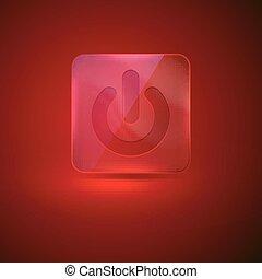 力 ボタン, ガラス, ベクトル, 赤, アイコン