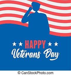 力, 幸せ, シルエット, 旗, 兵士, 軍, アメリカ人, 私達, 武装させられた, 日, ベテラン