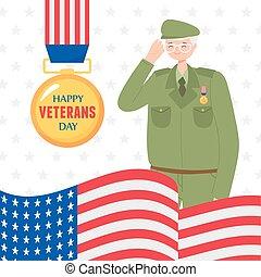 力, 幸せ, 兵士, メダル, 軍, アメリカの旗, 私達, 武装させられた, 日, ベテラン