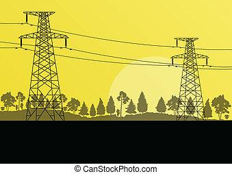 力, 自然, 電気, 高く, 田舎, ベクトル, 電圧, 背景, タワー, 線, 風景, 森林