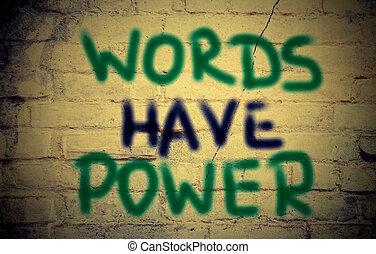 力, 言葉, 持ちなさい, 概念