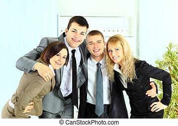 办公室, 商业, businesswoman, 年轻, 队, 商人, 微笑高兴