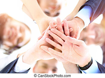 办公室, 商务人士, 手, 环绕, 加入