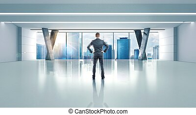 办公室, 在中, a, 成功, 人