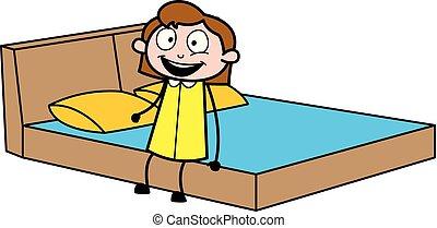办公室, 坐, -, 床, 矢量, 描述, 雇员, 女孩, 卡通漫画, retro