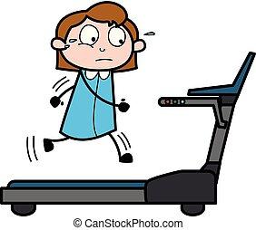 办公室, -, 描述, 颠簸地移动, 矢量, retro, treadmill, 雇员, 女孩, 卡通漫画