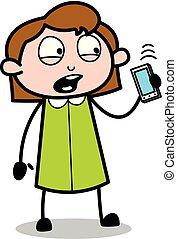 办公室, -, 无线, 谈话, 矢量, illustration?, retro, 雇员, 女孩, 卡通漫画