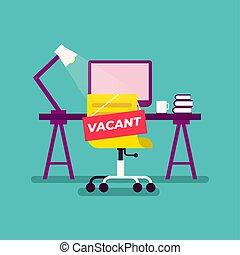 办公室, 未被占用的征候, workplace., 挂起, 雇员, 椅子, 空