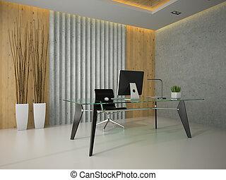 办公室, 玻璃, 现代, 提供, 2, 内部, 桌子, 3d
