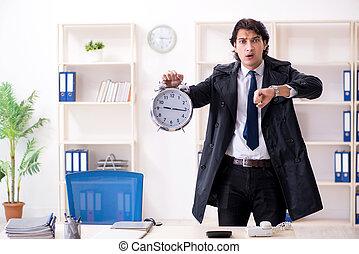 办公室, 管理, 雇员, 男性, 时间, 概念, 年轻