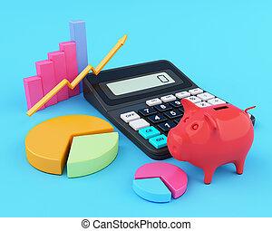 办公室, 计算器, 小猪, graphics., 银行, 3d
