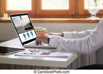 办公室, 设计, 笔记本电脑, 网, 商人