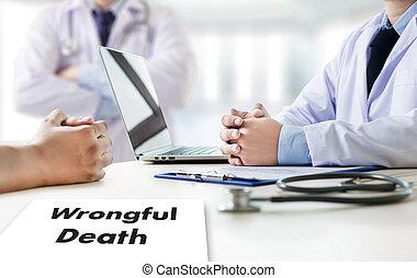 办公室, 谈话, 医学, 患者, 死亡, 工作, wrongful, 医生