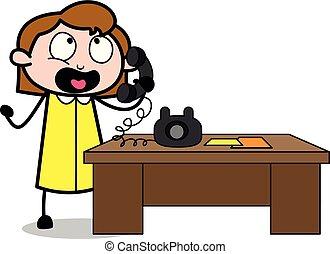 办公室, 谈话, -, 描述, 电话, 矢量, retro, 雇员, 女孩, 卡通漫画
