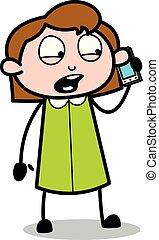 办公室, 谈话, -, 电话, 矢量, illustration?, retro, 雇员, 女孩, 卡通漫画