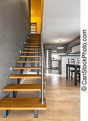 功能, 楼梯, 在中, 现代, 别墅, 内部, 想法