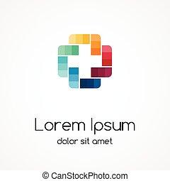 加上, logo., 醫學, 健康護理, 醫院, 符號。