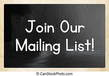 加入, 我們, 郵寄, 目錄