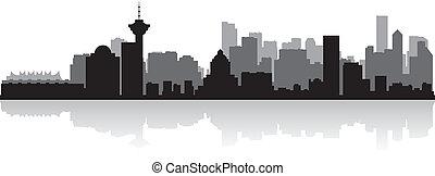 加拿大, 城市, 黑色半面畫像, 地平線, 矢量, 溫哥華