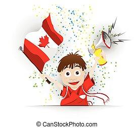 加拿大, 足球, 迷, 旗, 卡通