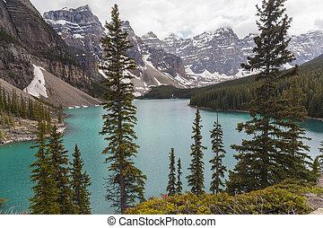 加拿大, banff 国家公园, 湖, 冰碛, alberta