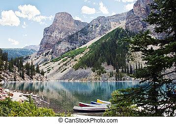 加拿大, banff 國家公園, 湖, 冰磧, 艾伯塔