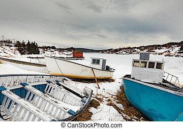 加拿大, nl, 冬天, 被 beached, 小的漁船