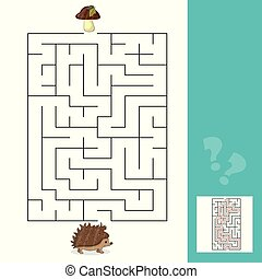 助け, きのこ, ゲーム, 方法, 答え, 迷路, ファインド, ハリネズミ