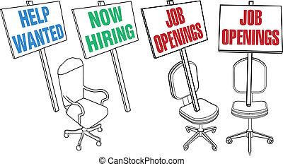 助け, オフィスアイコン, 雇用, 仕事, 椅子, 望まれる