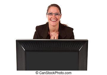 助け, コンピュータ, 女, 机