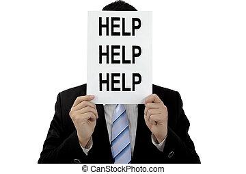 助け, ビジネス, 印, 板, 保有物, 人